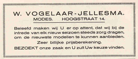 Advertentie Hoogstraat 14, Harlingen
